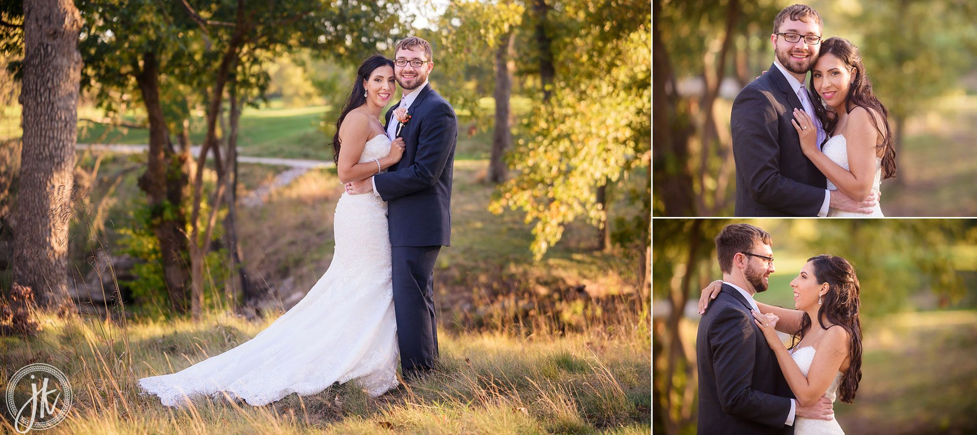 Scenic wedding portraits with bride and groom at columbia country