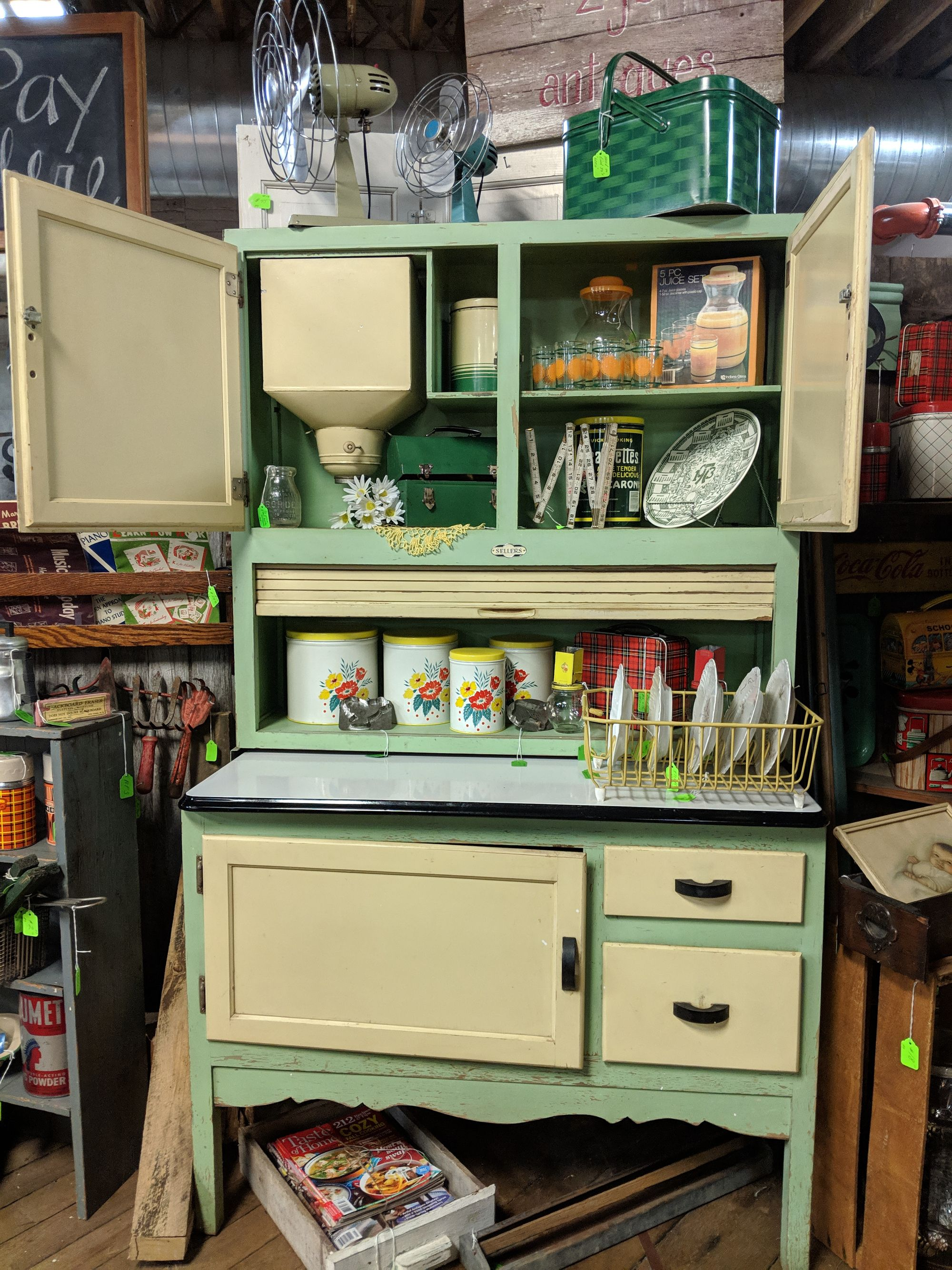This Great Sellers Hoosier Cabinet With Beautiful Original Paint And Flour Sifter Could Be Yours On Th Hoosier Cabinet Antique Hoosier Cabinet Hoosier Cabinets