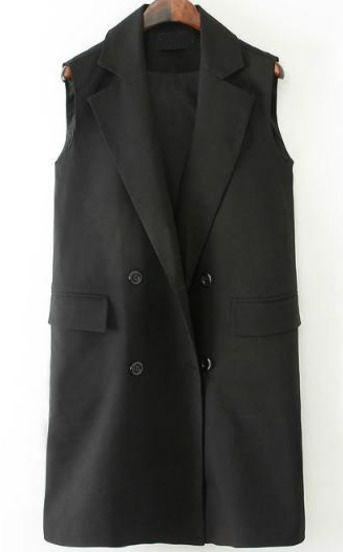 Black Notch Lapel Sleeveless Pockets Blazer pictures