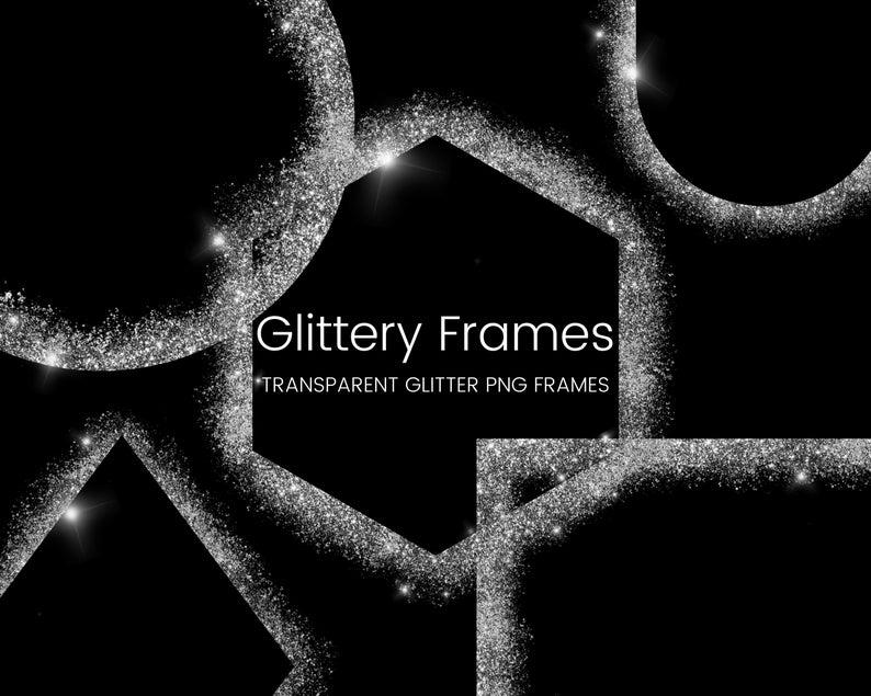 Silver Glitter Frame Clipart Set Glitter Border Elements Square Circle Glitter Border Clip Art Transparent Png Commercial Use Glitter Frame Frame Clipart Clip Art