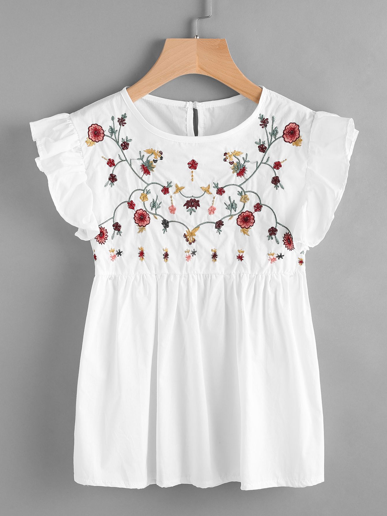 Embroidered Frill Trim Keyhole Back Smock Top | Clothes Shopping And Clothing
