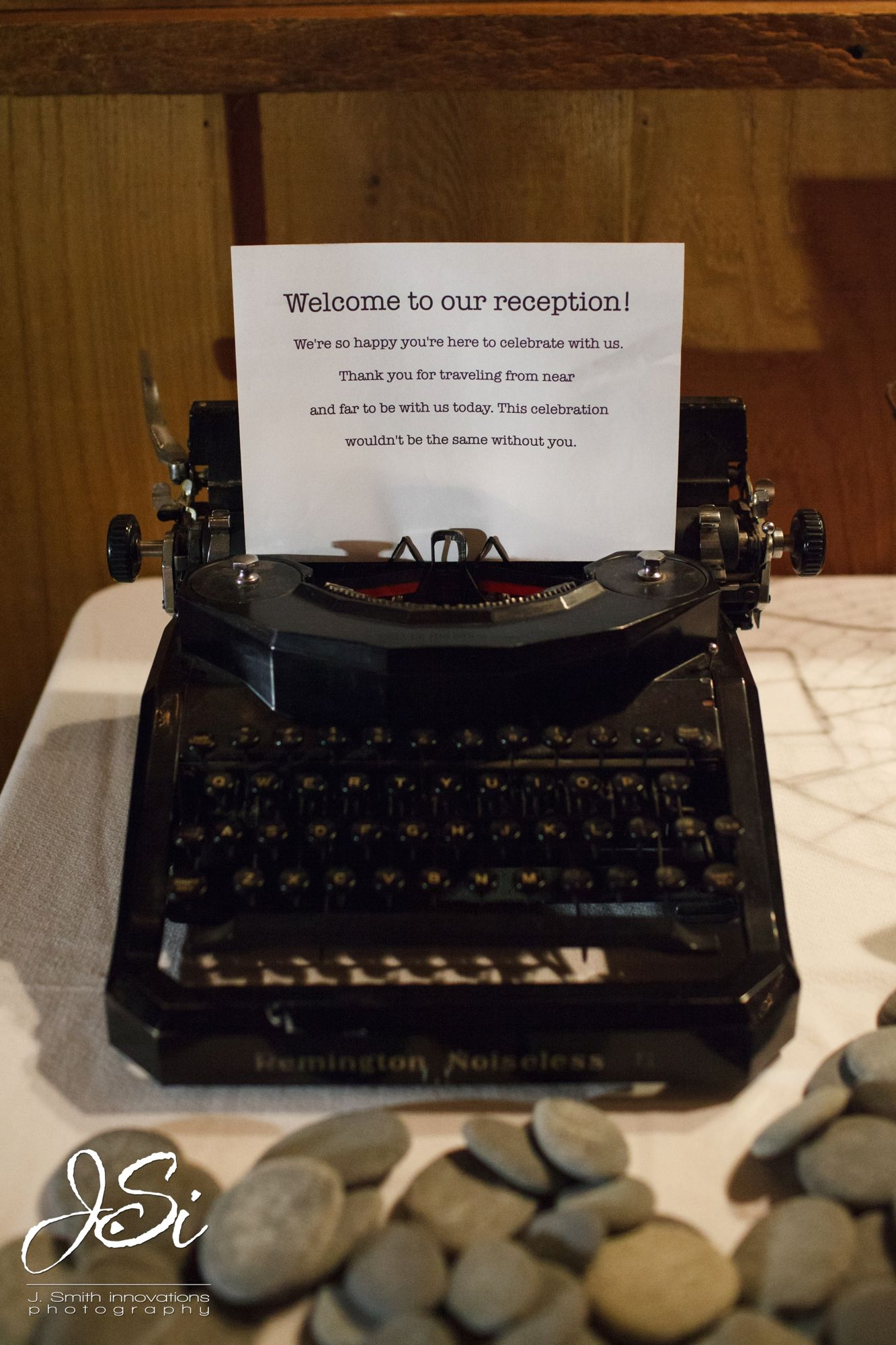 Welcome Message At Wedding Reception Using Antique Typewriter To