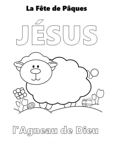 coloriage jesus agneau de dieu