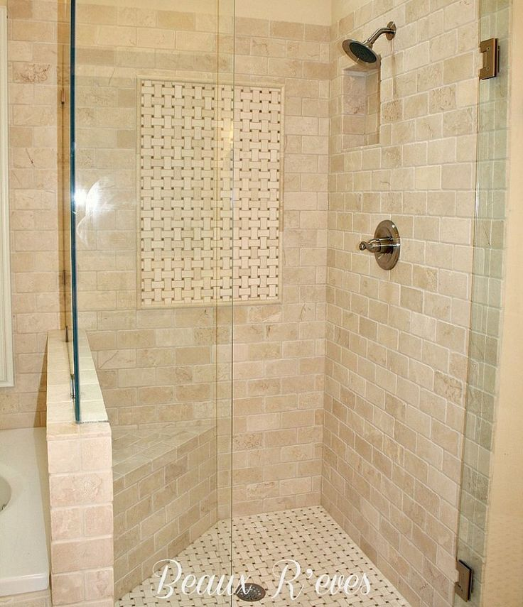 Master bathroom a shower with a small bench so you Small bathroom tile ideas pinterest