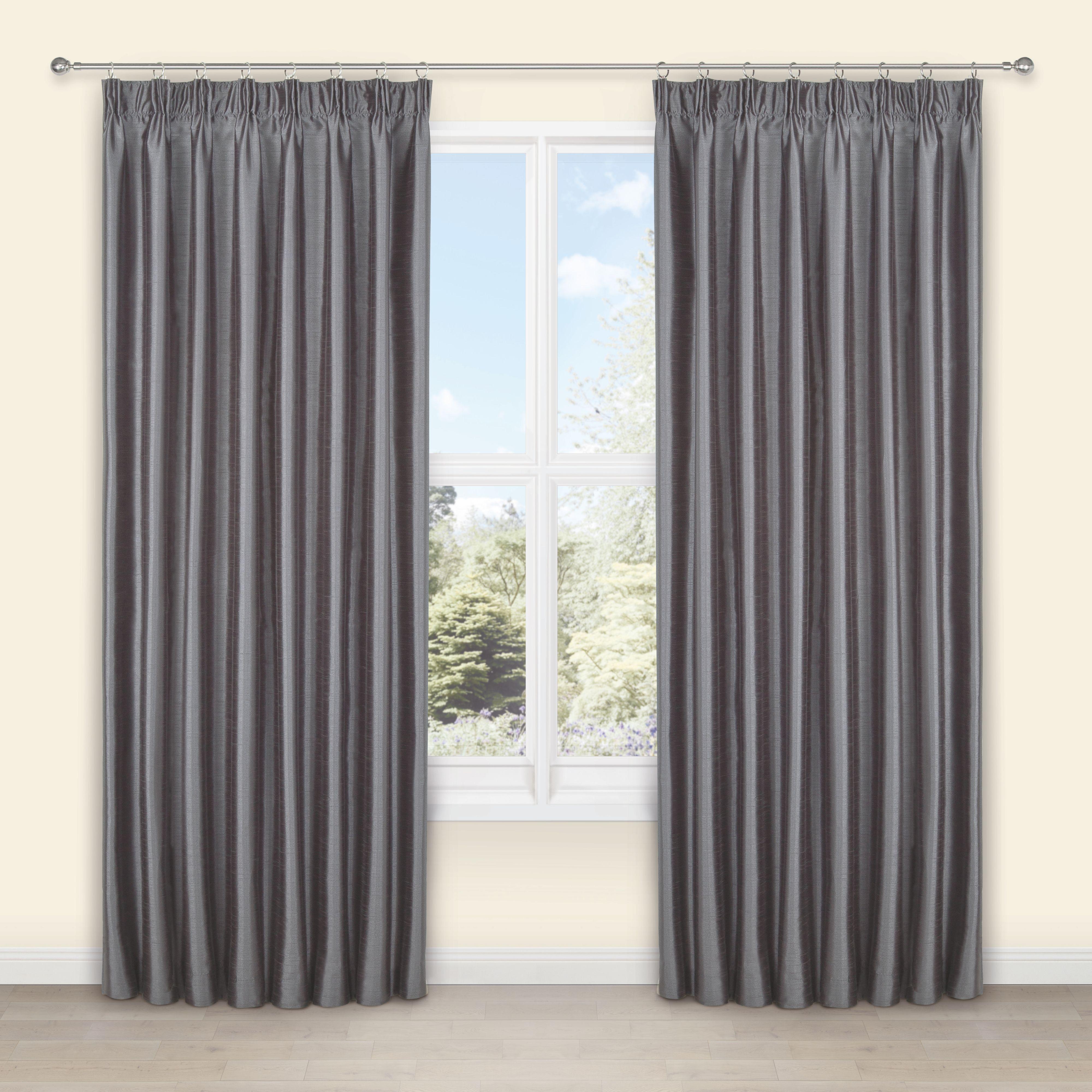 Villula Anthracite Plain Faux Silk Pencil Pleat Lined Curtains W