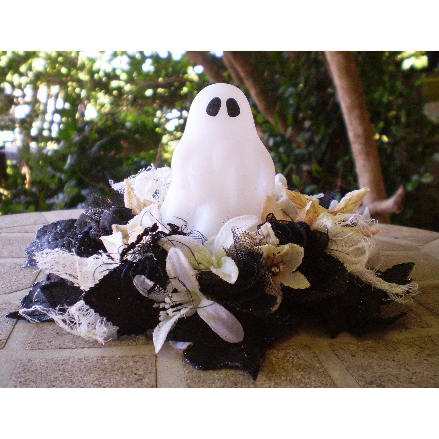 light up led glowing ghost floral centerpiece flower arrangement light up led glowing ghost floral centerpiece flower arrangement halloween decoration shabby chic fall autumn spooky home decor