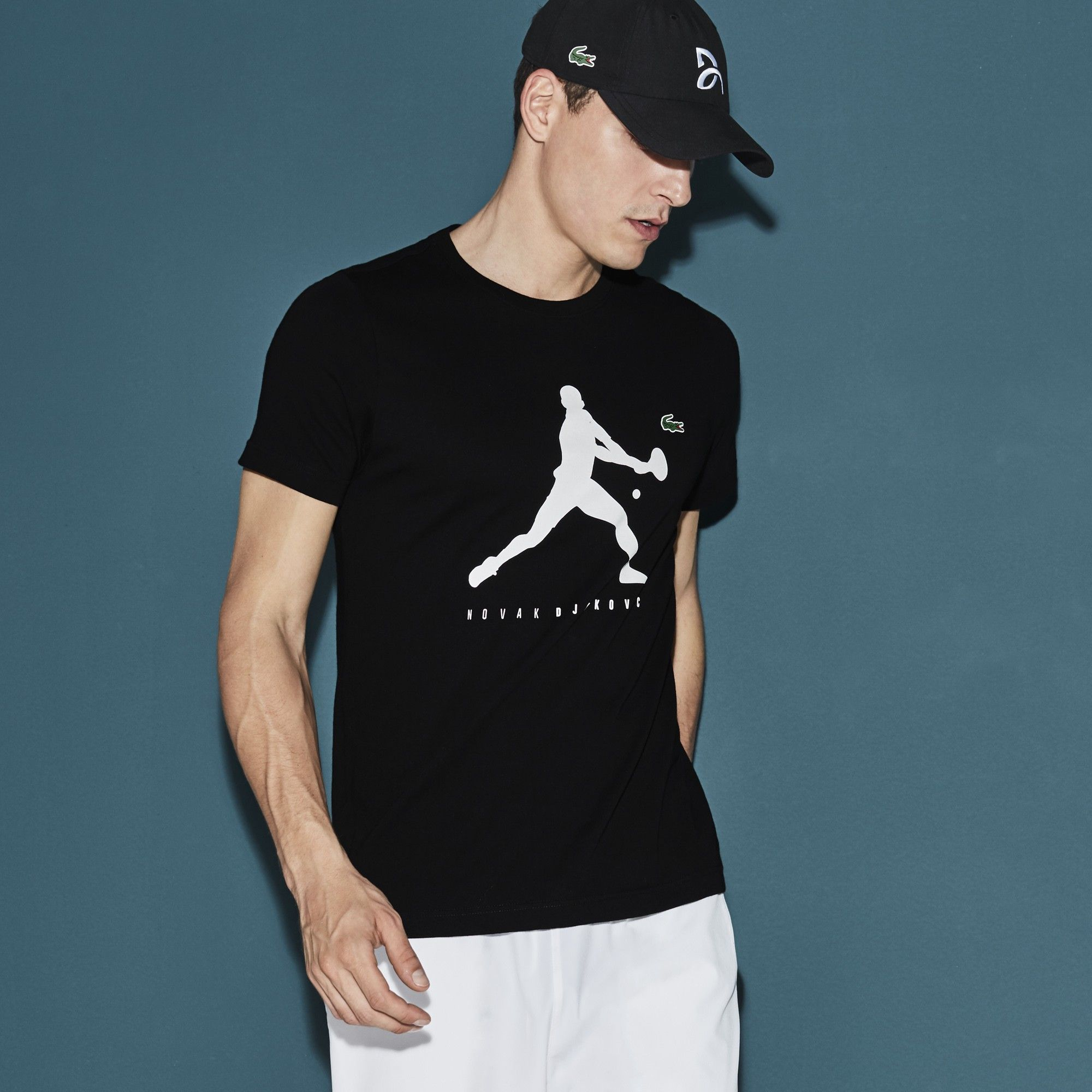 Lacoste Men S Sport Tennis T Shirt Novak Djokovic Supporter Collection In Black Modesens Lacoste Men Tennis Tshirts Men