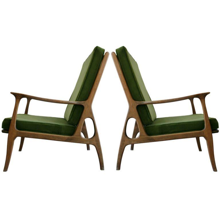 1stdibs pair italian wood frame armchairs - Wood Frame Armchair
