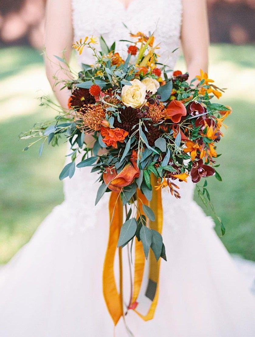 Fall Bouquet Orange Wedding Bouquet Cascading Wedding Bouquets Rustic Bridal Bouquets