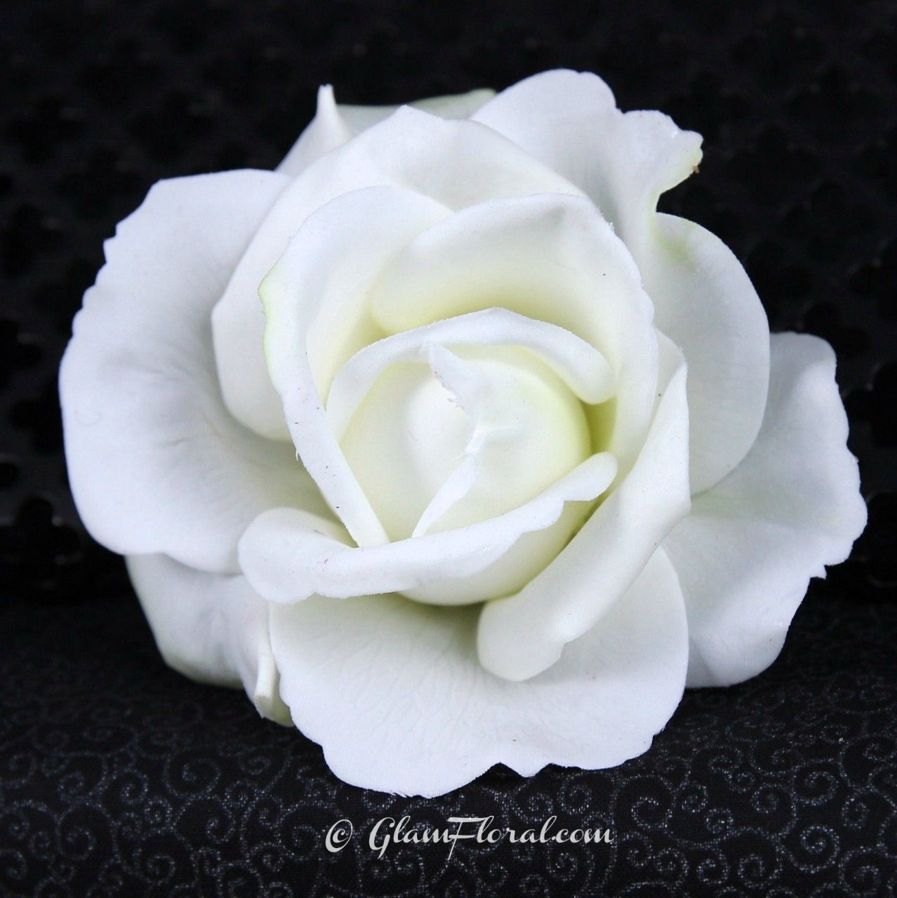 natural white rose hair clip real touch caroline rose