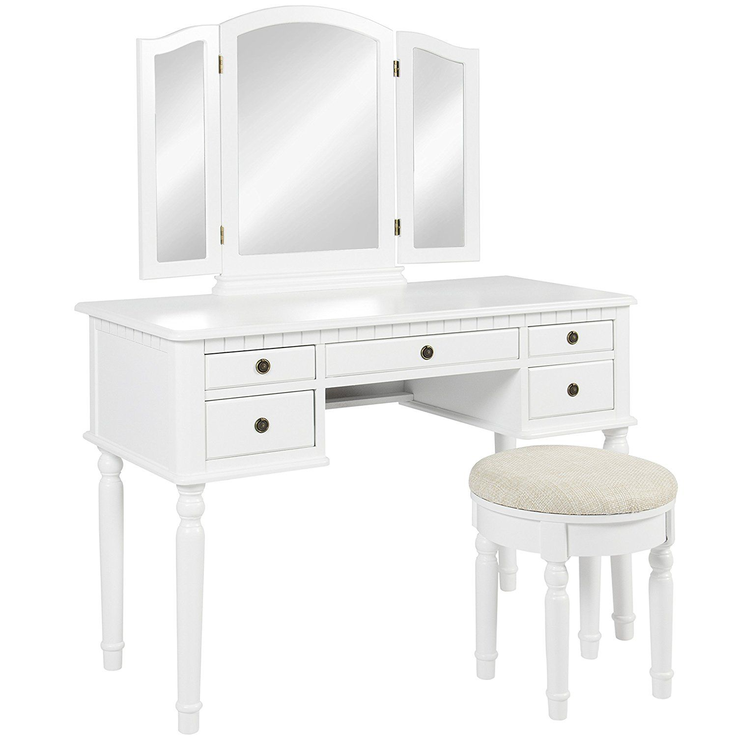 Amazon bathroom tri mirror vanity set makeup table hair