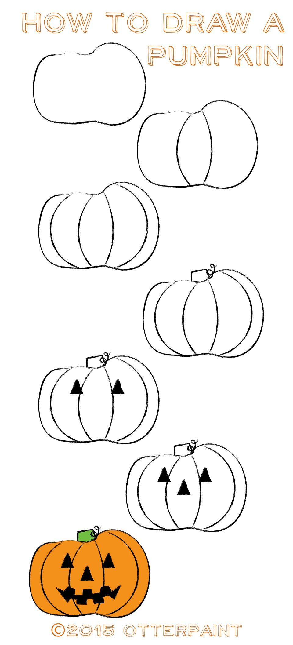How To Draw Pusheen Cat On Pumpkin With Candy Corn Step By Step