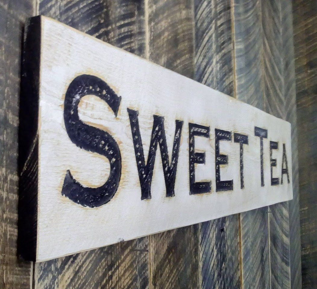 Sweet tea sign horizontal carved in a cypress board rustic arts