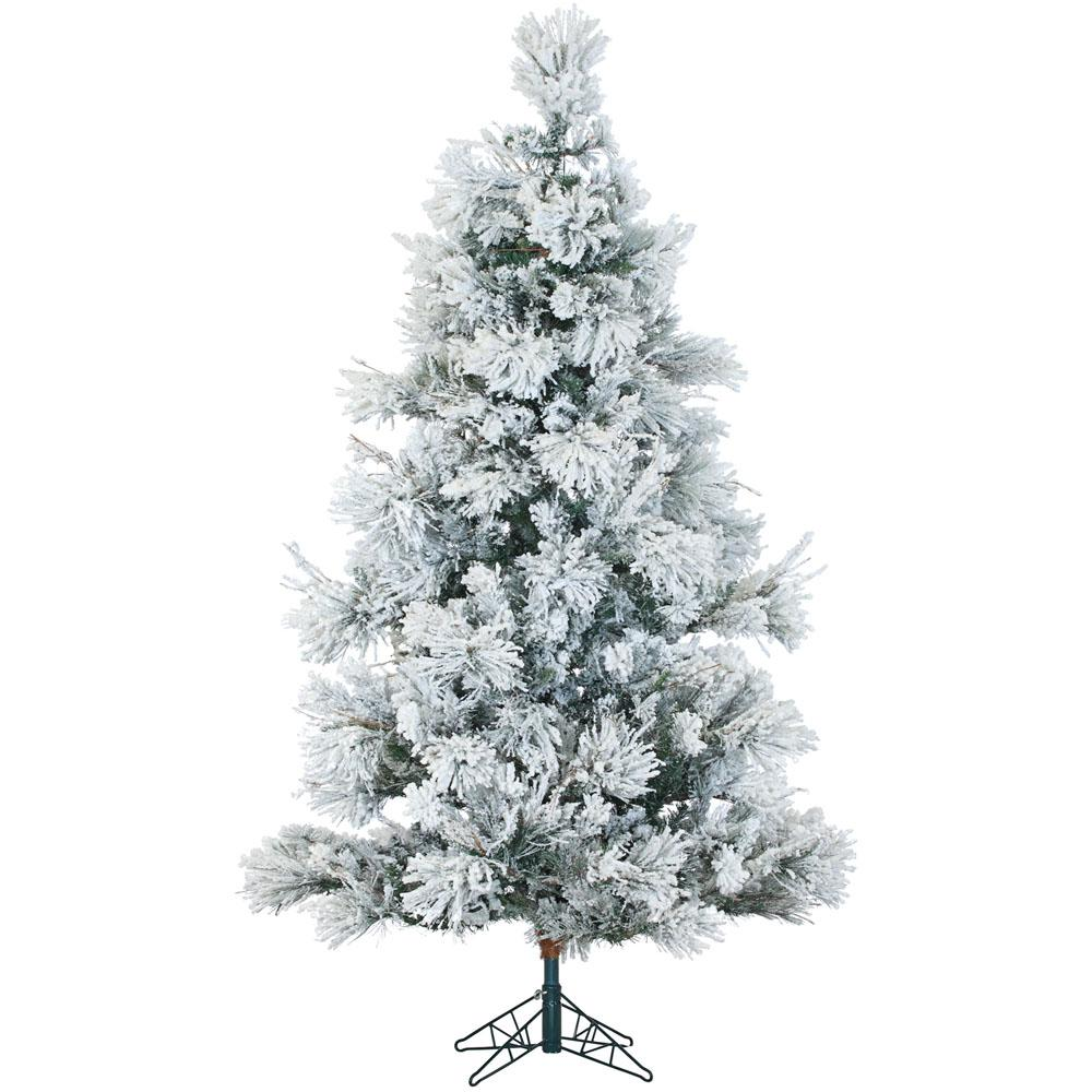 Fraser Hill Farm 9 Ft Pre Lit Led Flocked Snowy Pine Artificial Christmas Tree W Flocked Artificial Christmas Trees Pine Christmas Tree Pre Lit Christmas Tree