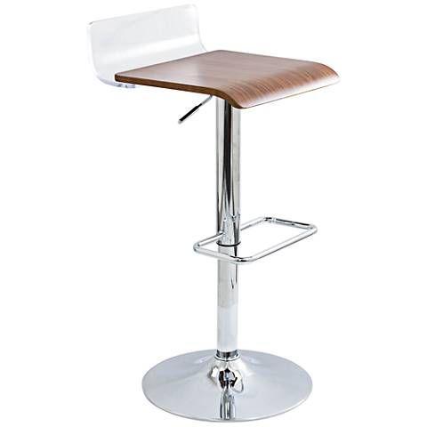 Strange Swerve Clear Acrylic And Walnut Wood Adjustable Barstool Evergreenethics Interior Chair Design Evergreenethicsorg