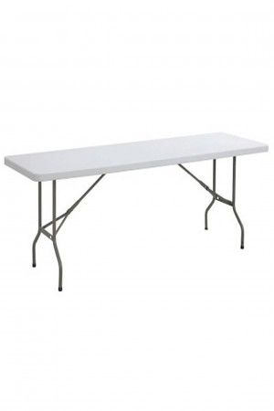 6ft by 2ft 6in Rectangle Trestle Plastic Folding Table