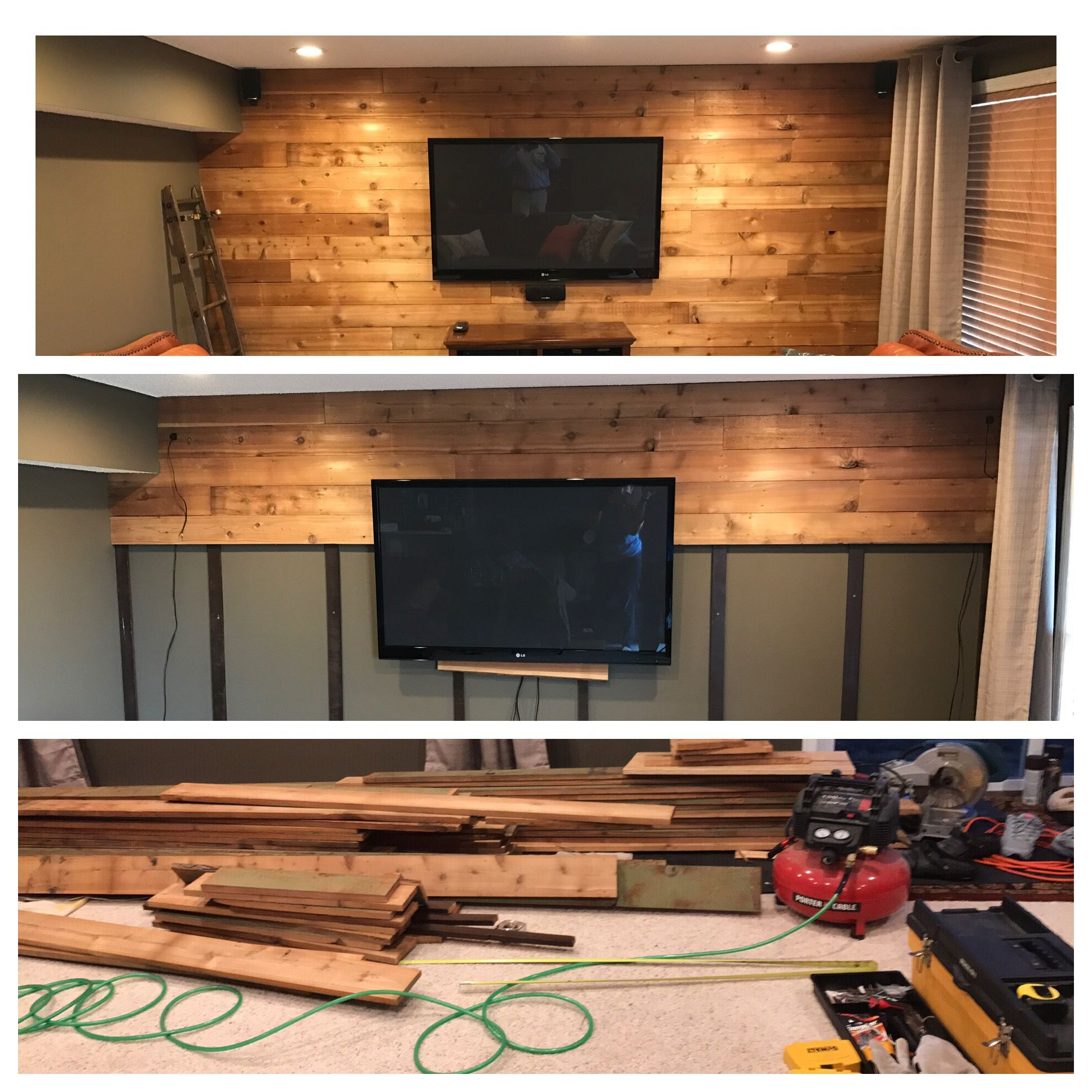 Using Cedar For Accent Wall: Recycled Raw Cedar Siding To Accent Wall