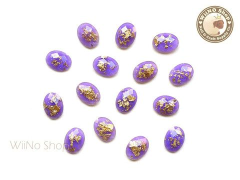 6 x 8mm Violet Purple Gold Foil Glitter Oval Flat Back Acrylic Rhinestone Nail Art - 10 pcs
