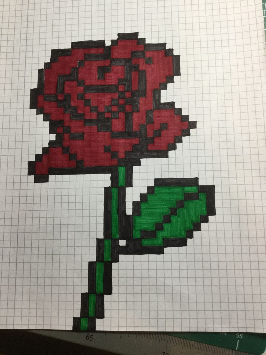 Pixel Art 171 Rose Pixel Art Graph Paper Drawings Graph Paper Art