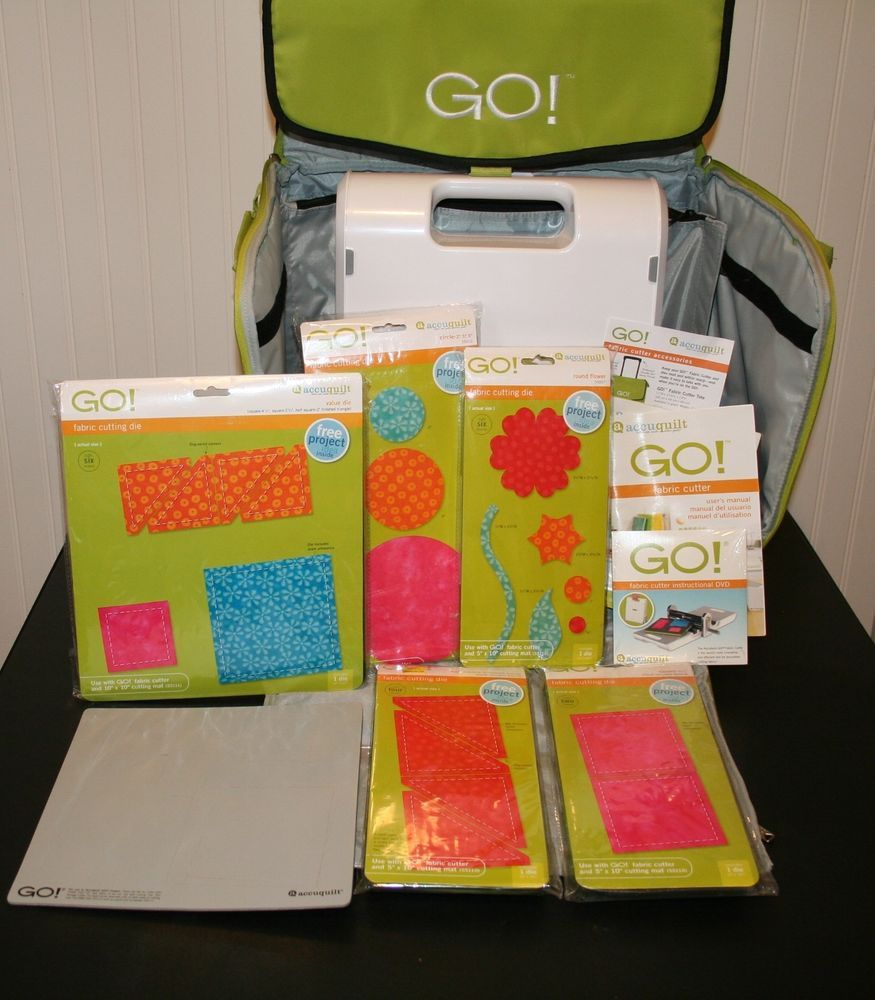 Accuquilt GO! Fabric Cutter with Wheeled Carrying Case and 5 Dies ~ Used Once  #AccuQuilt #quilting #crafting