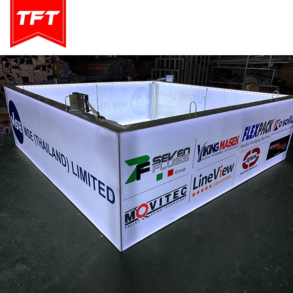 China Supplier Aluminium Square Edge Lit Stretch Fabric Frame Ceiling Suspended Trade Show Display Hanging Sign, from Shanghai TFT Systems Co., Ltd. expert in silicone edge graphic and tension fabric system +10 years. Email: joy@tftsystems.com  Mob.: +86 189 3070 9251 (WhatsApp) #tradeshow #exhibition #exhibitiondesign #backlitstands #backlitdisplay #lightbox #exhibitionstand