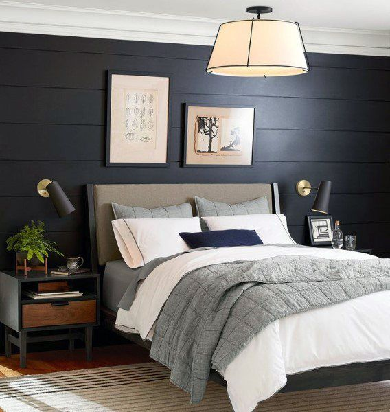 Imagess Dark Blue Accent Wall: Black Shiplap With White Crowning. �� In 2019