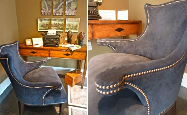 Wesley Hall Blue Suede Chair   Made In USA