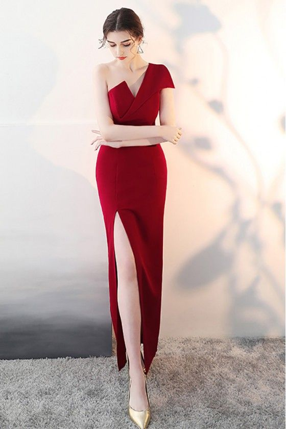 b4501e29c65 Sexy Slit Burgundy Fitted Prom Dress with One Shoulder -  71.1  HTX86001 -  SheProm.com