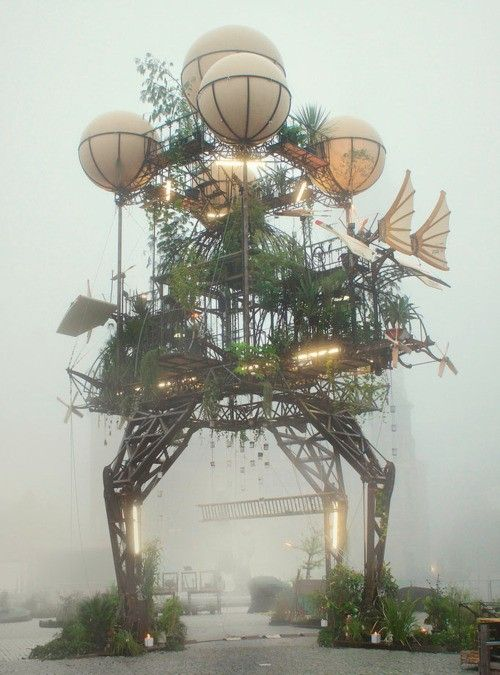 """aeroflorale II"", an animated hanging garden inspired by da vinci and designed by world-renowned french arts group la machine."