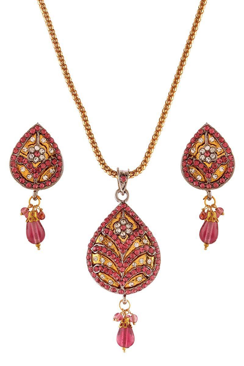 Pink gold plated austrian diamond pendant set pendant sets on