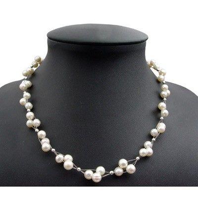 Perlenkette Collier Halsschmuck Muschelkernperle Magnetverschluss rose silber