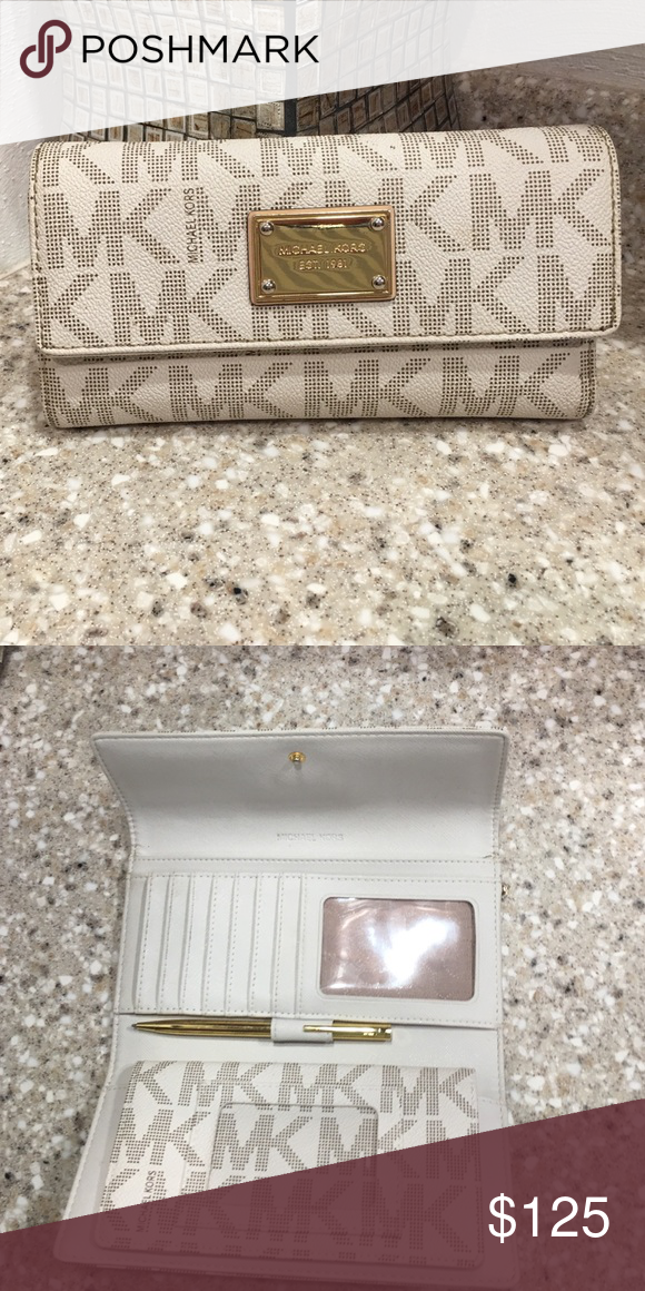 d7a66d3d4060d7 Michael Kors wallet with checkbook cover! Gently used white and brown Michael  Kors wallet with checkbook cover! There are a few tiny scratches on  hardware, ...