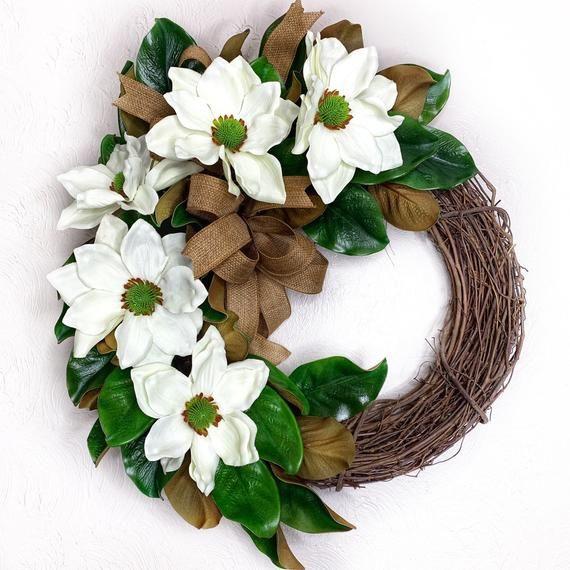 Photo of Magnolia wreath for front door, southern magnolia wreath, everyday southern decor, white magnolas wreath for wedding, simplistic wreath,