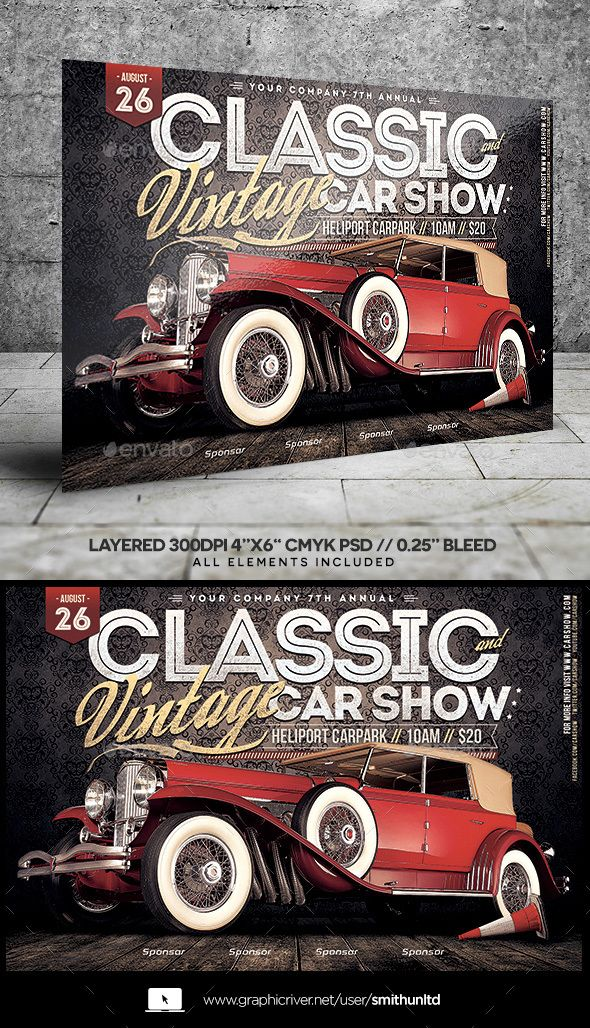 Car Show Classic \ Vintage Flyer Horizontal u2014 Photoshop PSD #race - car flyer template