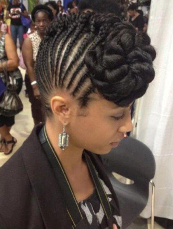Braided Bun Mohawk Hairstyle Natural Hair Updo Hair