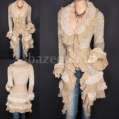 Gorgeous Ruffles Lace Tiered Hem Button Up Cardigan Long Sweater ...