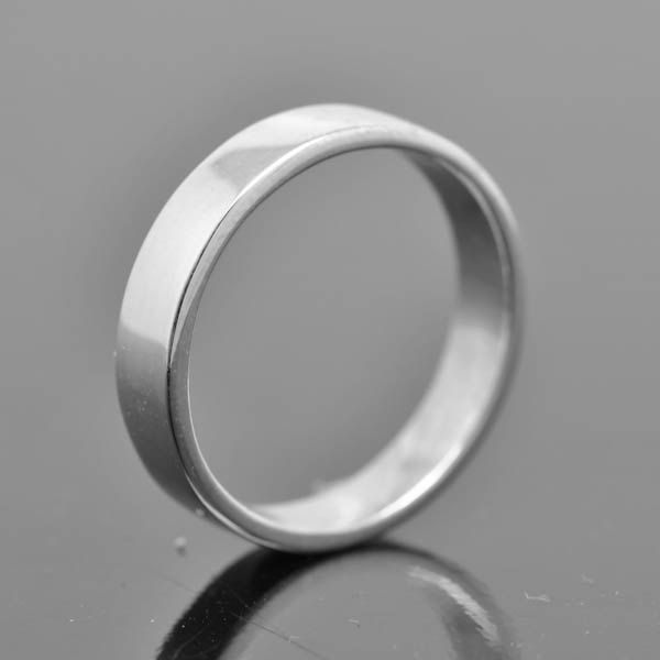 14k Palladium White Gold Ring 4mm X 1mm Flat Wedding Band Wedding Ring Square Mens Wed White Gold Rings Palladium White Gold Mens Wedding Bands