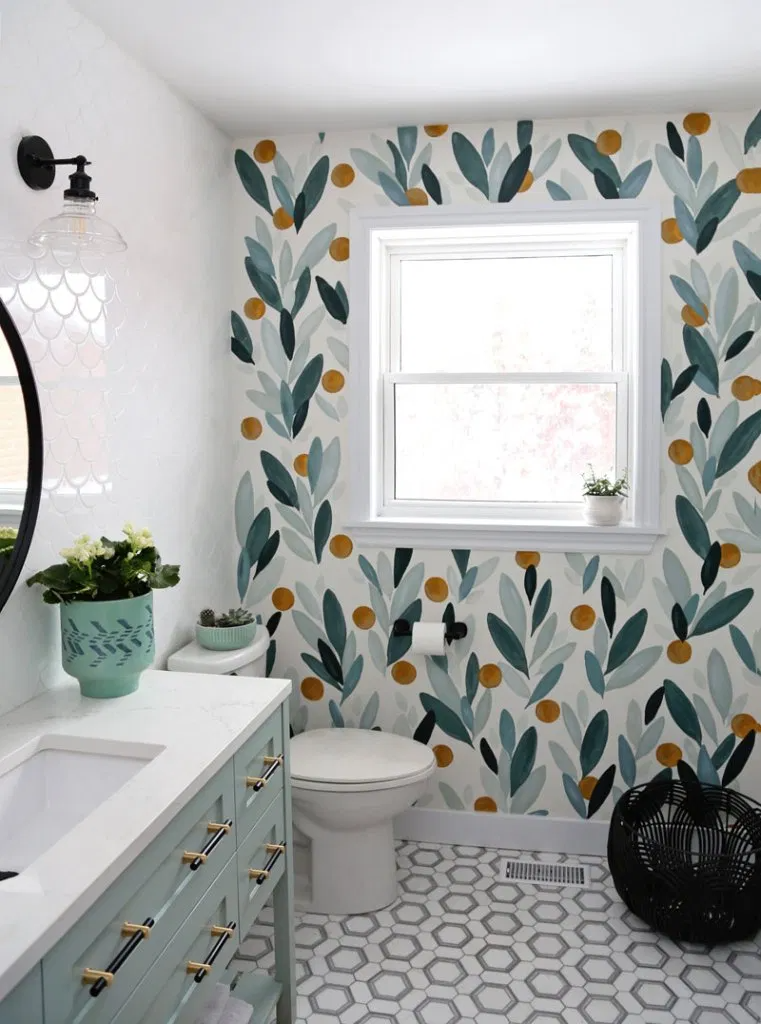 How To Paint Over Wallpaper In A Bathroom Diy Fynes Designs In 2020 Painting Over Wallpaper Bathroom Colors Bathroom Makeover