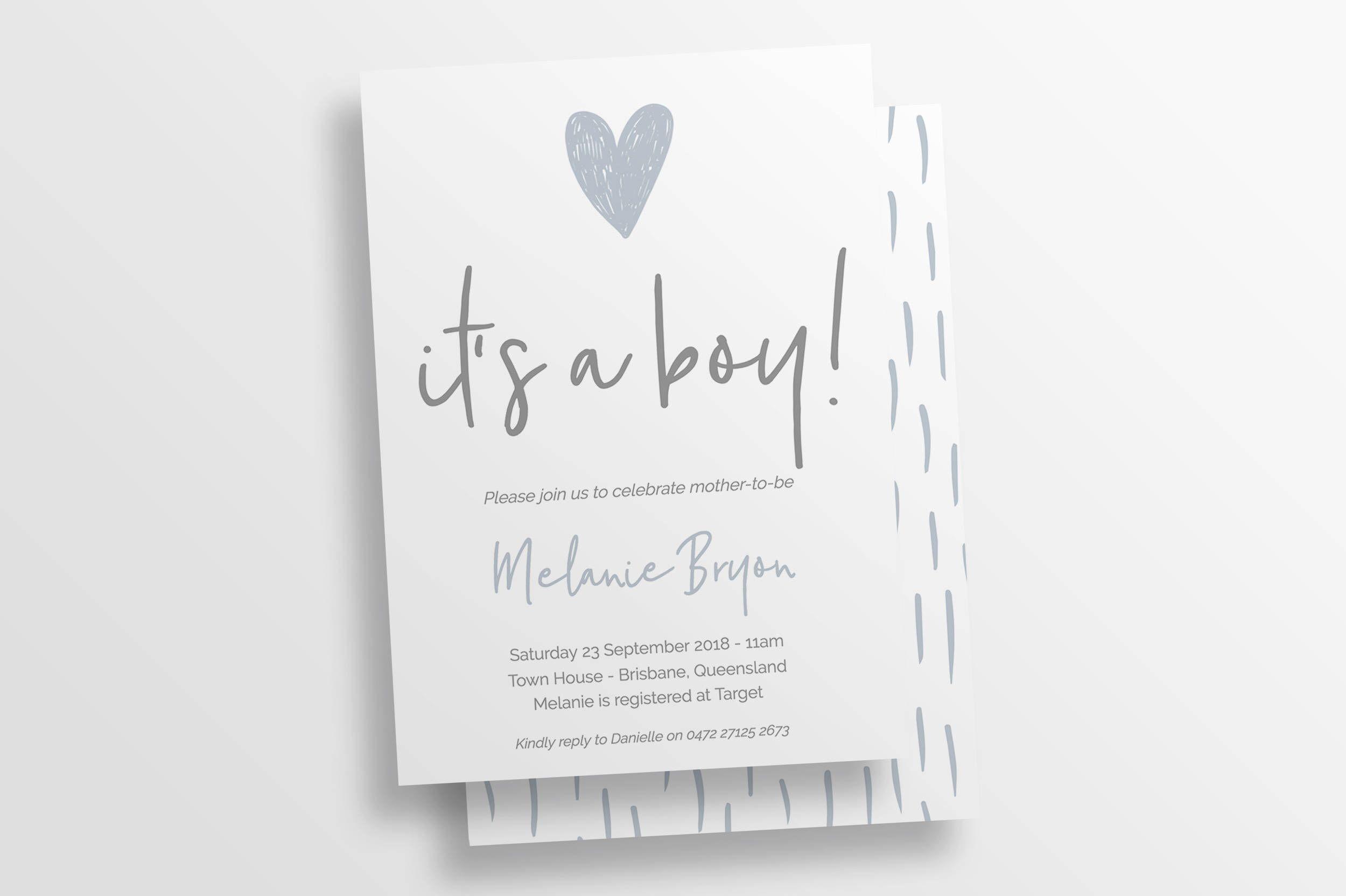 Baby Boy Shower Invitation   Printable Baby Shower Invite Template ...