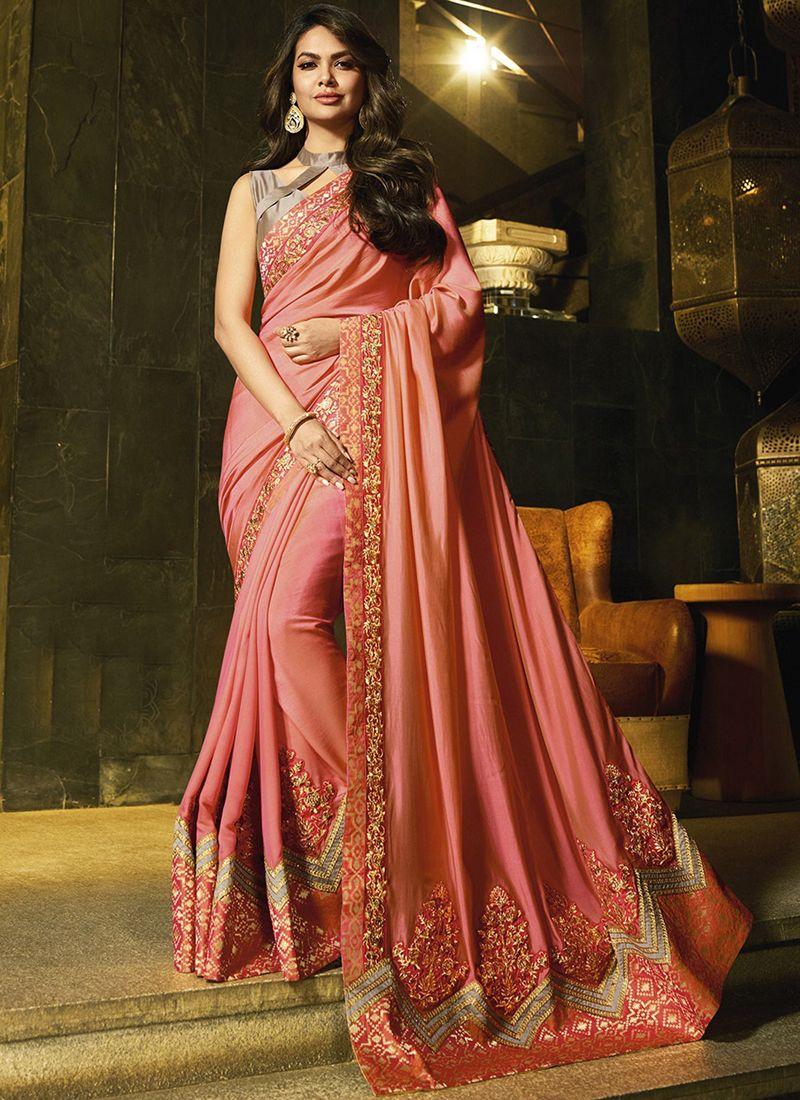 Peach Silk Thread Work Party Wear Saree Saree Designs Lace Saree Bollywood Designer Sarees