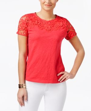 Charter Club Petite Crochet-Detail Cotton Top, Only at Macy's - Pink P/XS