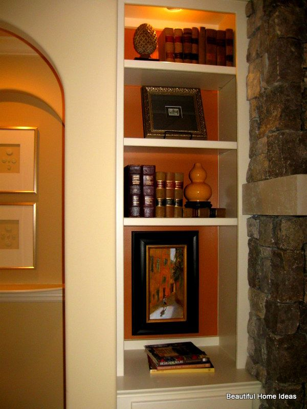 Contrasting paint color inside niche makes it a focal point.