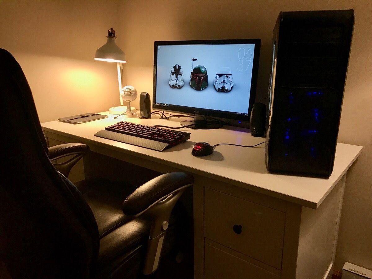 Just Upgraded From My Cheap Walmart Desk To A New Hemnes Desk From Ikea Imac Imac Desk Setup Hemnes