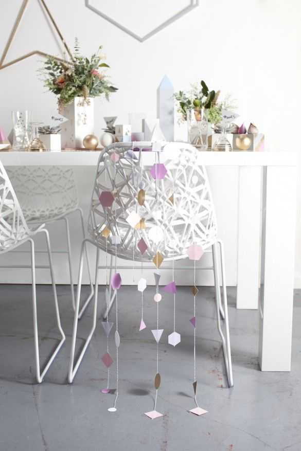 Knot & Pop Weddings - Geometric Goodies - Table Setting with Garlands