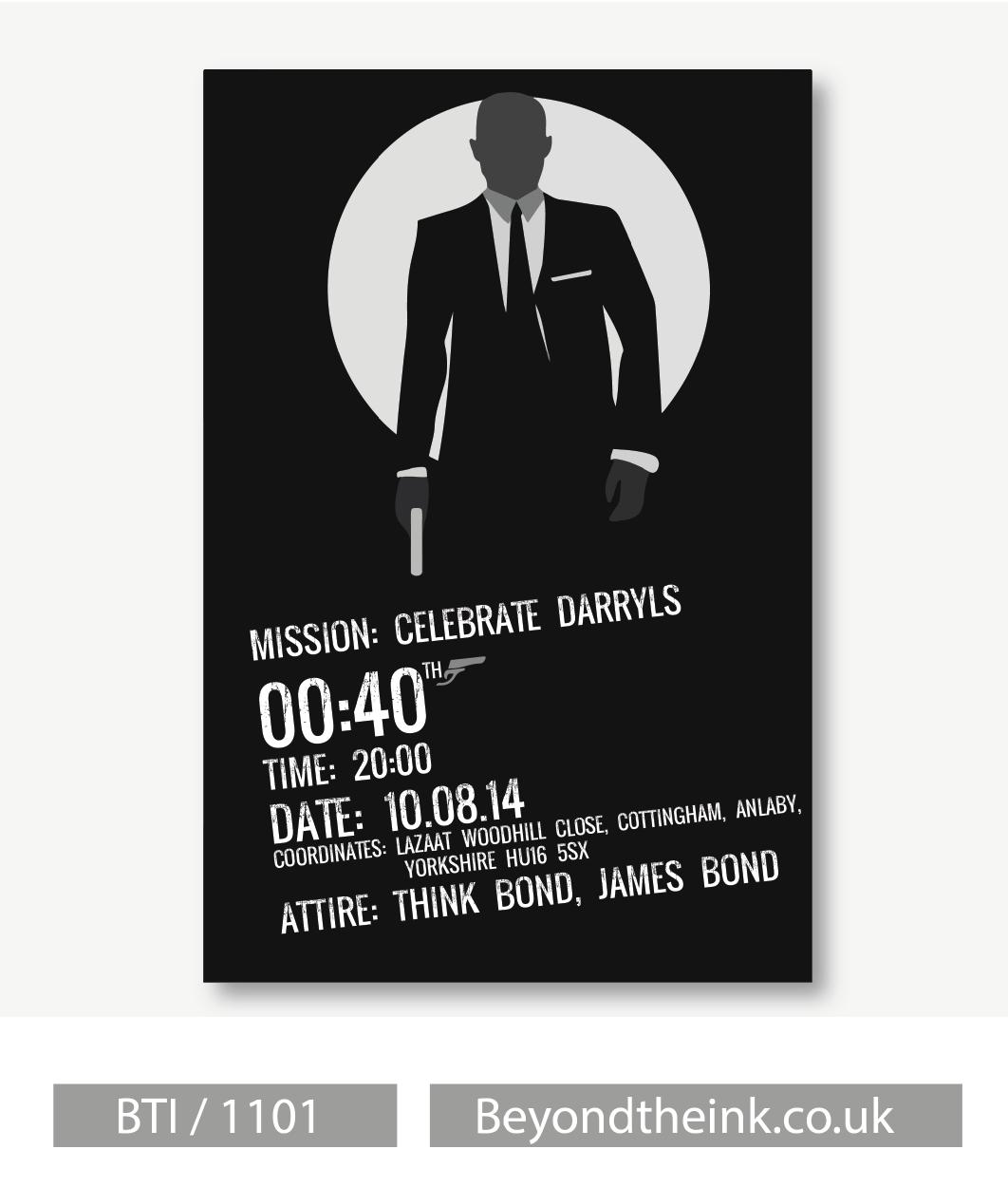 Personalised James Bond 007 Invitation Beyond The Ink Bond Personalised James Bond