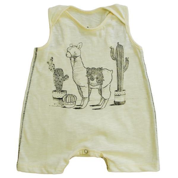 3606a3fa80e9 Yellow Llama Sleeveless Romper – Sweet Tea and Caviar - A Baby Boutique