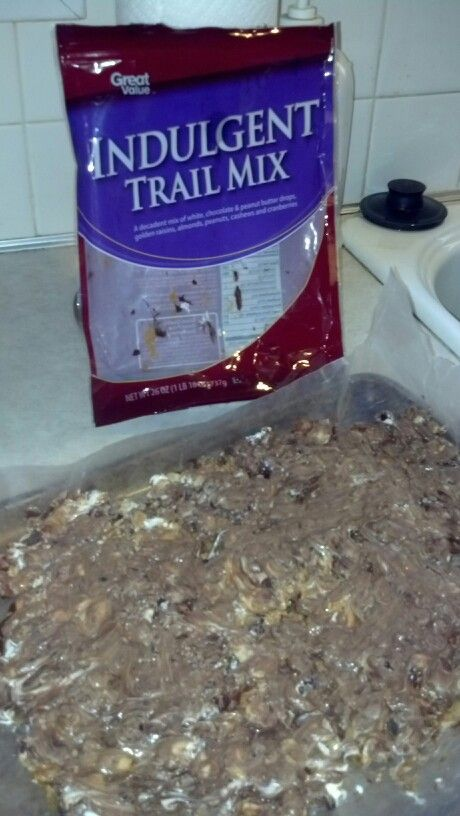 Indulgent bark    Microwave 1 bag of indulgent trail mix from