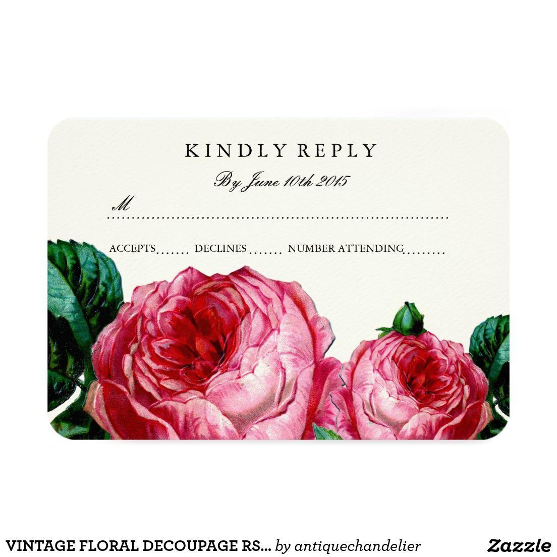 Vintage floral decoupage rsvp cards   Pinterest   Vintage floral ...