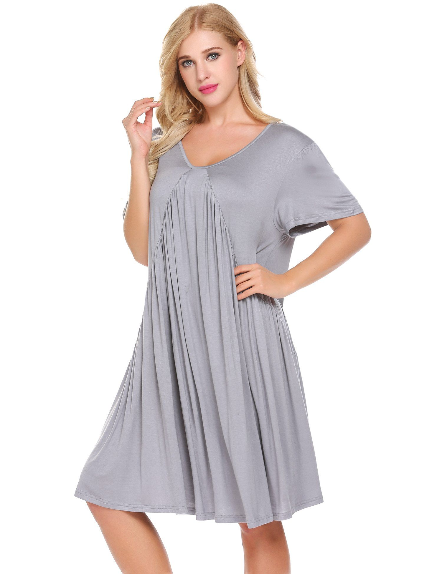 d5f3fc6e85c70 nursing tops - Ekouaer Womens KneeLength Short Sleeve Casual Maternity  Dresses Solid Elegant Pregnancy ClothesMediumLight Grey