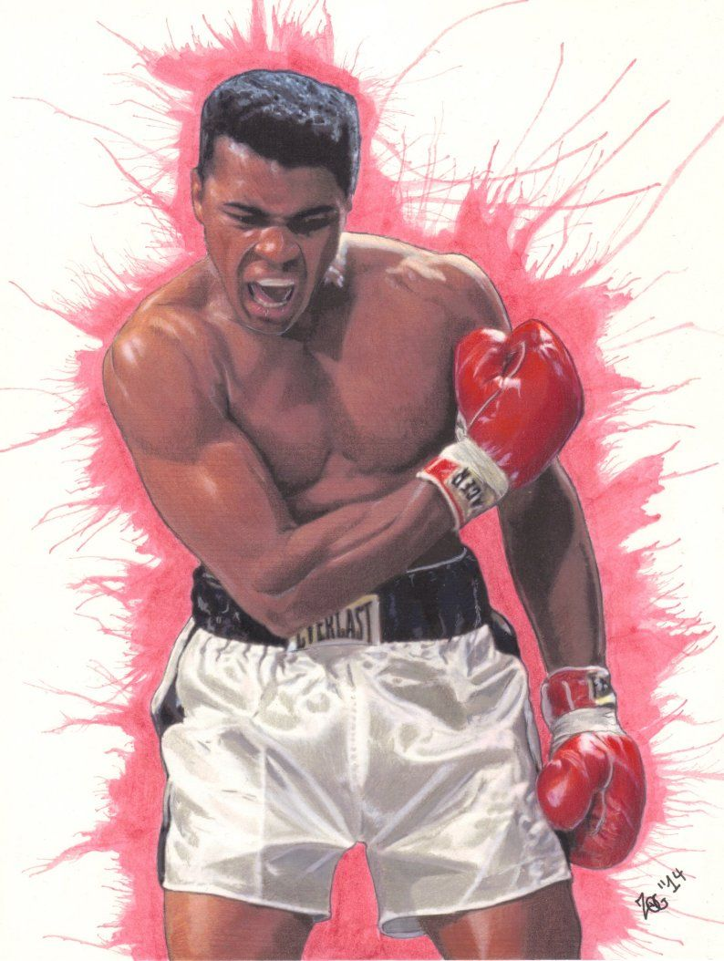 Muhammad Ali Drawing Boxing Colored Pencil Ink Watercolor On Smooth Bristol My Drawings